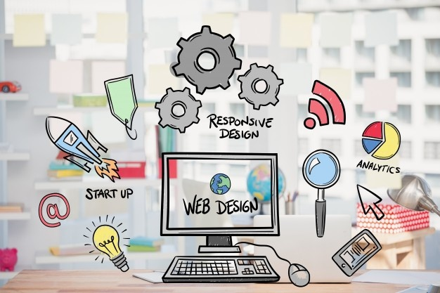 web-design-concept-with-drawings_